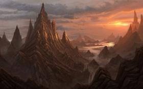 Картинка облака, пейзаж, закат, горы, тучи, водопад, арт
