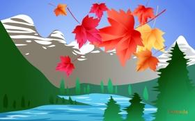 Обои листья, деревья, пейзаж, горы, озеро, путешествия, Канада