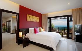 Обои комната, кровать, телевизор, балкон, спальня