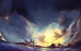 Картинка море, небо, звезды, линии, пейзаж, скалы, арт