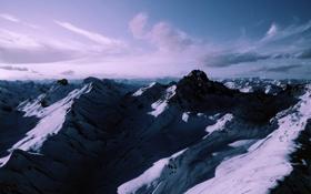 Обои облака, горы, тучи, горный хребет, с высоты птичьего полета, над говорами, много гор