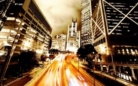 Обои дорога, свет, ночь, огни, фото, люди, страны