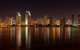 Картинка ночные огни, ночной город, Сан-Диего