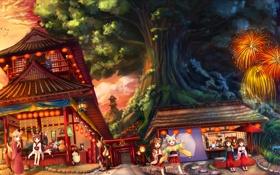 Картинка дерево, девочки, дома, арт, фонари, фейерверк, кимоно