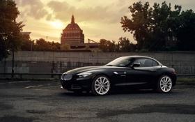 Картинка солнце, BMW, парковка, black, front, 35i, sDrive