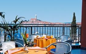 Картинка море, город, отдых, вид, relax, отель, терраса