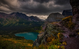 Картинка небо, горы, тучи, озеро
