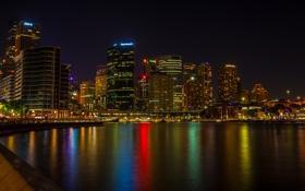 Картинка ночь, город, река, фото, небоскребы, Австралия, Сидней