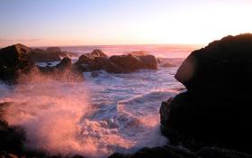 Обои море, волны, закат, камни, побережье