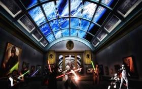 Картинка космос, арт, храм, звездные войны, star wars, битва, джедаи