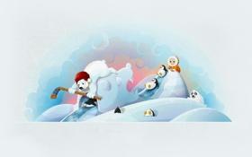 Обои зима, тюлень, медведь, мишка, пингвин, клюшка, хоккей