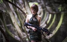 Картинка девушка, оружие, граната, развалины, азиатка