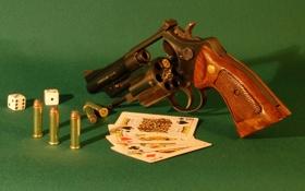 Картинка карты, кости, револвер