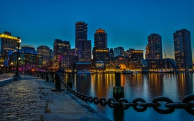 Картинка ночь, огни, дома, США, набережная, Бостон