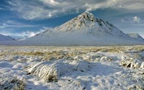 Картинка зима, поле, снег, гора