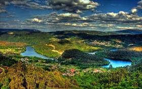 Картинка леса, река, деревья, облака, природа, мост, деревня