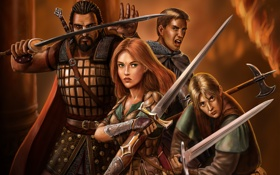 Обои девушка, оружие, меч, войны, арт, компания, мужчины