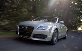 Обои Audi, фары, Roadster, скорость, вид спереди, передок