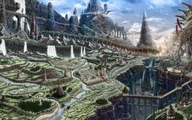 Обои пейзаж, горы, город, дракон, арт, водопады, реки
