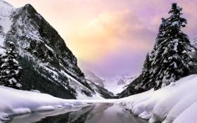Обои холод, зима, лес, вода, облака, снег, деревья