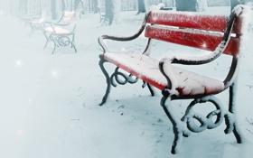 Обои зима, снег, деревья, природа, лавочки