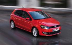 Картинка Красный, Volkswagen, Машина, Скорость, Движение, Обои, Фон
