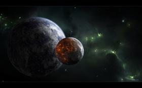 Обои космос, земля, луна