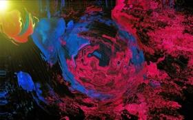 Обои синий красный, art, abstraktsiya, фото, свет, лучи, волны