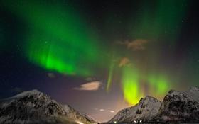 Картинка пейзаж, звезды, горизонт, Исландия, ночь, море, северное сияние