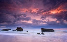 Картинка море, небо, облака, закат, камни, камень