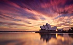 Обои город, утро, Австралия, Сидней, оперный театр
