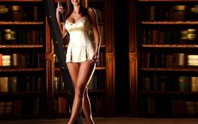 Картинка девушка, улыбка, книги, платье, лестница, библиотека, ножки