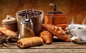 Картинка кофе, зерна, печенье, чашки, сахар, выпечка, кексы