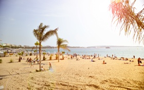 Обои песок, пляж, солнце, пальмы, люди, Европа, Beach