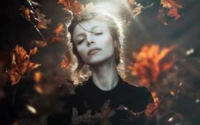 Картинка осень, девушка, природа