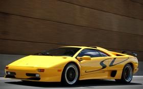 Обои Lamborghini, supercar, yellow, Diablo
