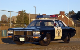 Обои небо, фон, Полиция, Додж, Dodge, седан, классика