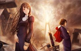 Обои город, девушки, аниме, разруха