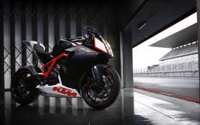 Обои чёрный, Мотоцикл, KTM, в гараже, Ктм