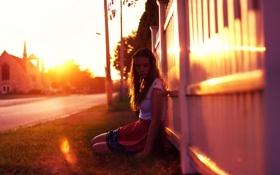 Картинка свет, закат, настроение, улица, девочка