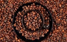 Картинка круги, кофе, чашка, кофейные зерна, блюдце