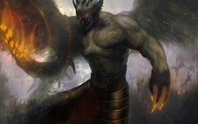 Обои огонь, крылья, демон, арт, оборотень
