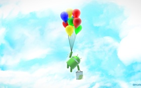 Обои green, balloons, ANDROID, robot, os android
