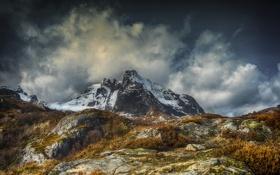 Картинка Parti fra Nusfjord, Flakstad Lofoten islands, снег, гора