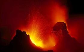 Картинка небо, горы, ночь, вулкан, извержение