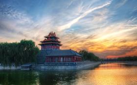 Картинка закат, китай, здание, пекин
