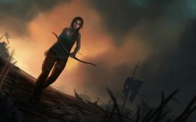Обои девушка, корабль, Tomb Raider, лара крофт
