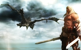 Обои дракон, сказка, воин