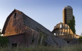 Обои закат, дом, доски, деревянный, руины, заброшенность, развалюха
