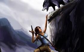 Обои девушка, скала, волк, хищник, лук, арт, висит
